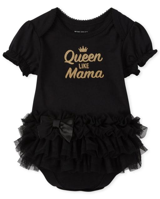 Baby Girls Short Ruffle Sleeve Glitter 'Queen Like Mama' Tutu Bodysuit