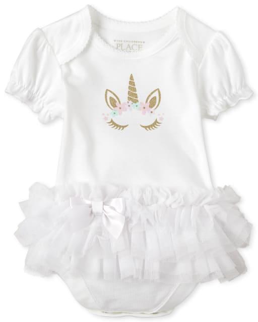 Baby Girls Short Ruffle Sleeve Glitter Unicorn Tutu Bodysuit