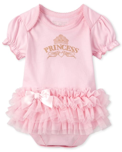 Baby Girls Short Ruffle Sleeve Glitter 'Princess' Tutu Bodysuit