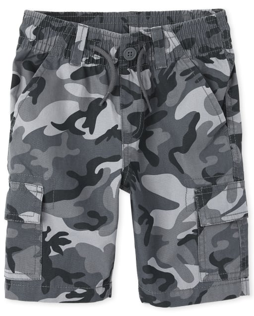 Boys Camo Print Woven Matching Pull On Cargo Shorts