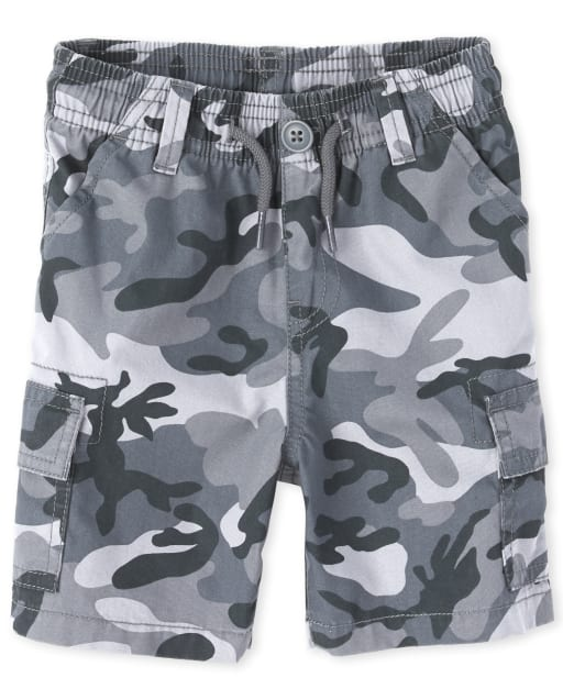 Baby And Toddler Boys Camo Woven Pull On Cargo Shorts