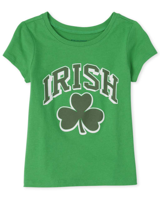 Baby And Toddler Girls Matching Family St. Patrick's Day Short Sleeve 'Irish' Shamrock Graphic Tee