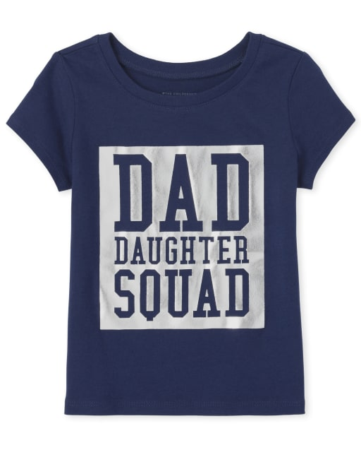 Baby And Toddler Girls Matching Family Short Sleeve Foil 'Dad Daughter Squad' Graphic Tee