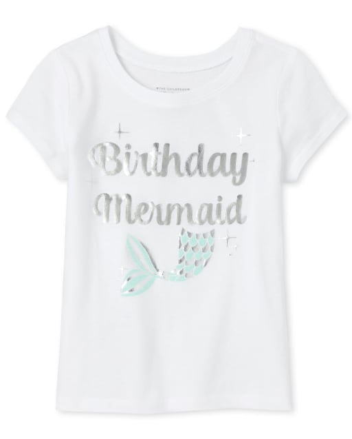 Baby And Toddler Girls Mommy And Me Short Sleeve Foil 'Birthday Mermaid' Matching Graphic Tee