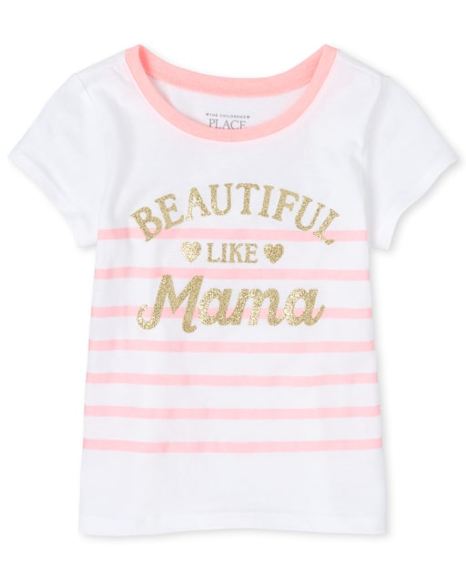 Baby And Toddler Girls Short Sleeve Glitter 'Beautiful Like Mama' Striped Matching Graphic Tee