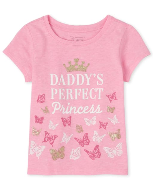 Baby And Toddler Girls Short Sleeve Glitter 'Daddy's Perfect Princess' Butterfly Graphic Tee