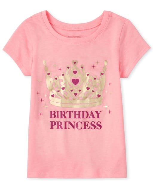 Baby And Toddler Girls Mommy And Me Short Sleeve Glitter And Foil 'Birthday Princess' Matching Graphic Tee