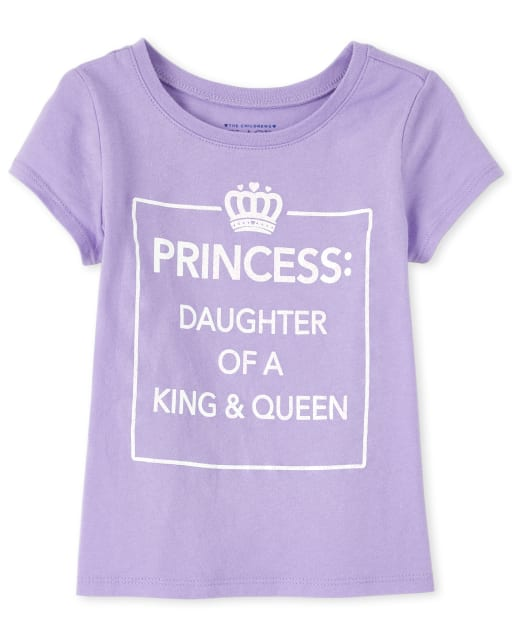 Baby And Toddler Girls Short Sleeve 'Princess Daughter Of A King And Queen' Matching Graphic Tee