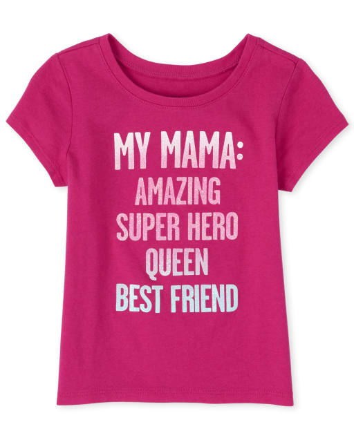 Baby And Toddler Girls Short Sleeve Glitter 'My Mama Amazing Super Hero Queen Best Friend' Matching Graphic Tee