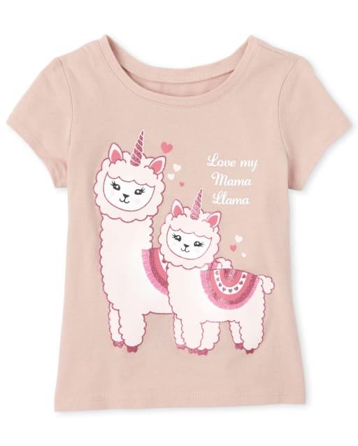 Baby And Toddler Girls Short Sleeve Glitter 'Love My Mama Llama' Graphic Tee