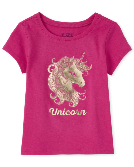 Baby And Toddler Girls Mommy And Me Short Sleeve Foil 'Unicorn' Matching Graphic Tee