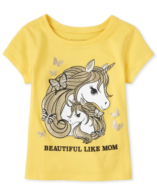 Baby And Toddler Girls Short Sleeve Glitter 'Beautiful Like Mom' Unicorn Matching Graphic Tee