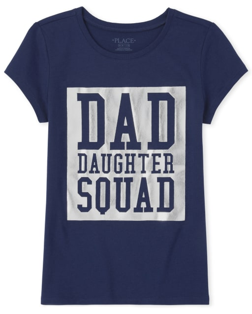 Girls Matching Family Short Sleeve Foil 'Dad Daughter Squad' Graphic Tee