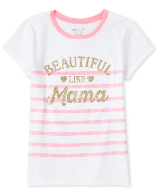 Girls Short Sleeve Glitter 'Beautiful Like Mama' Striped Matching Graphic Tee