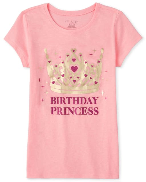 Girls Mommy And Me Short Sleeve Glitter And Foil 'Birthday Princess' Matching Graphic Tee