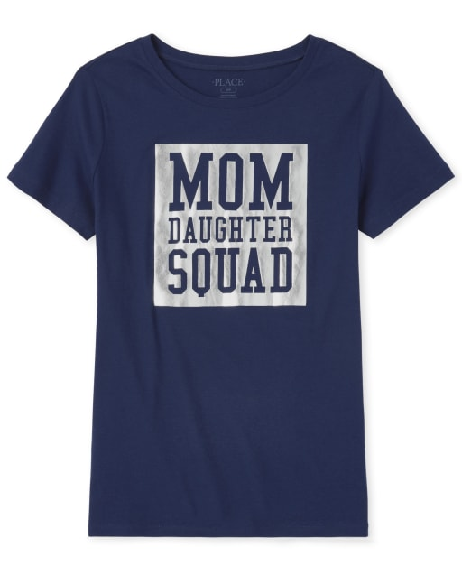 Womens Matching Family Short Sleeve Foil 'Mom Daughter Squad' Graphic Tee