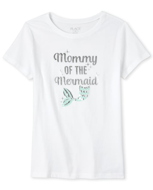 Womens Mommy And Me Short Sleeve Foil 'Mommy Of The Mermaid' Birthday Matching Graphic Tee