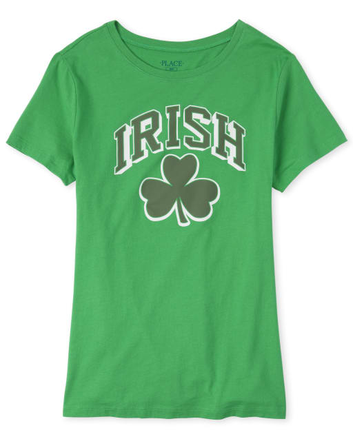Womens Matching Family St. Patrick's Day Short Sleeve 'Irish' Shamrock Graphic Tee