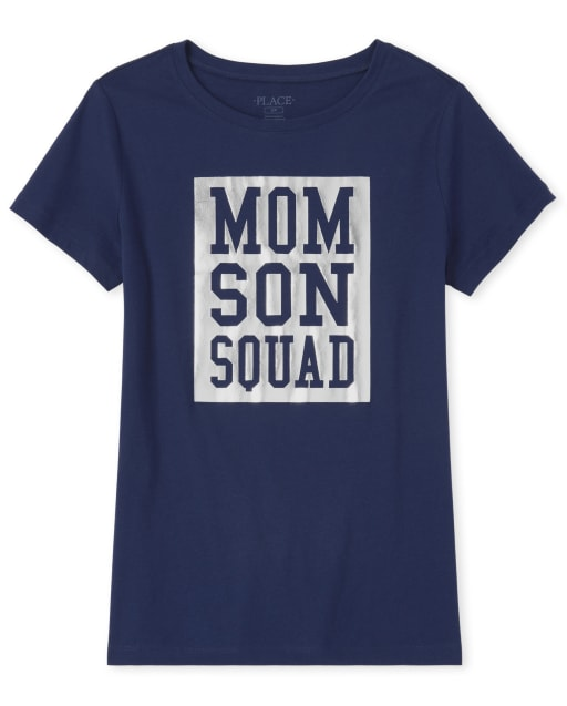 Womens Matching Family Short Sleeve Foil 'Mom Son Squad' Graphic Tee