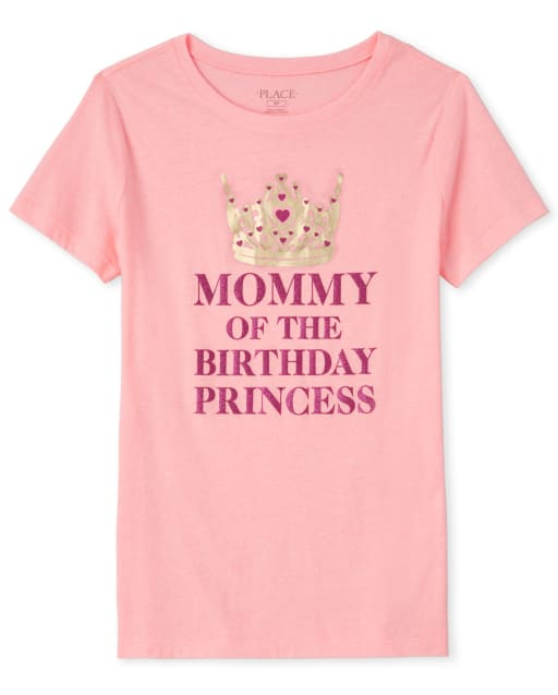 Womens Mommy And Me Short Sleeve Glitter 'Mommy Of The Birthday Princess' Matching Graphic Tee
