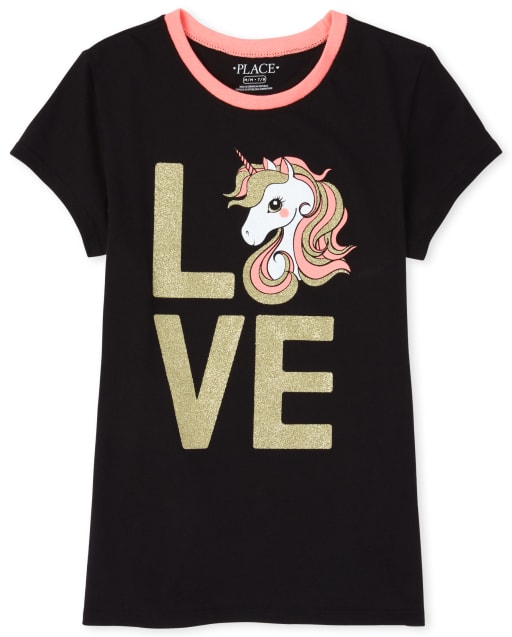 Girls Short Sleeve Glitter Unicorn 'Love' Graphic Tee