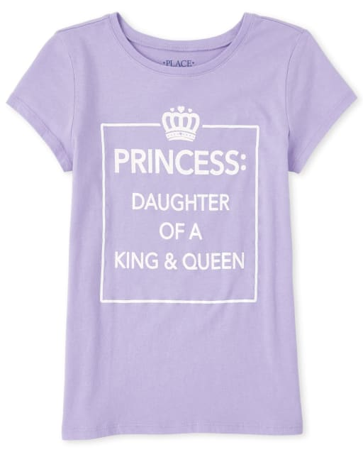 Girls Short Sleeve Glitter 'Princess Daughter Of A King And Queen' Matching Graphic Tee