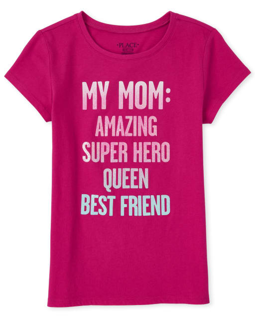 Girls Short Sleeve Glitter 'My Mama Amazing Super Hero Queen Best Friend' Matching Graphic Tee