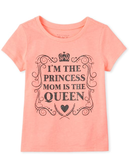 Baby And Toddler Girls Short Sleeve Glitter 'I'm The Princess Mom Is The Queen' Graphic Tee