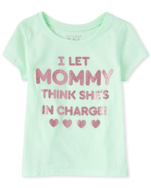 Baby And Toddler Girls Short Sleeve Glitter 'I Let Mommy Think She's In Charge' Graphic Tee