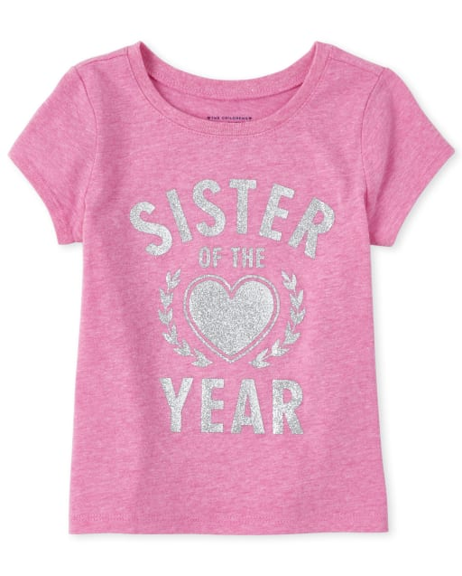 Baby And Toddler Girls Short Sleeve Glitter 'Sister Of The Year' Matching Graphic Tee