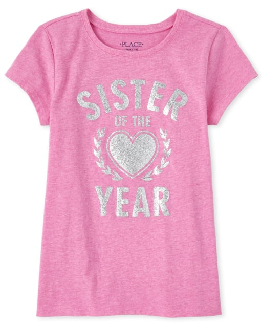 Girls Short Sleeve Glitter 'Sister Of The Year' Matching Graphic Tee