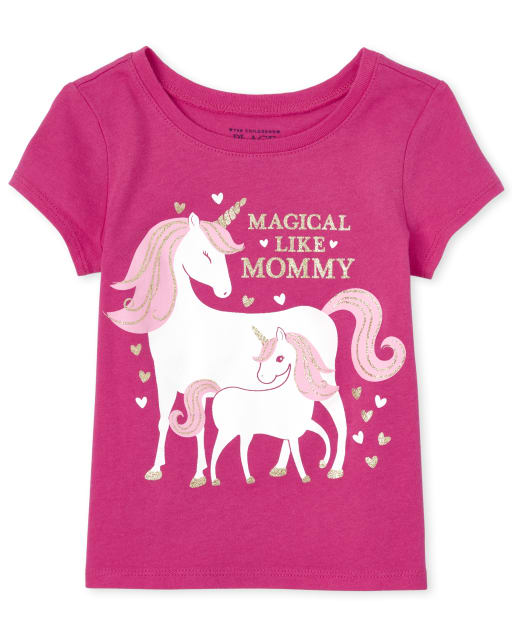 Baby And Toddler Girls Short Sleeve 'Magical Like Mom' Unicorn Matching Graphic Tee
