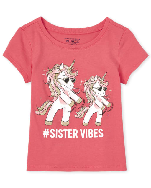 Baby And Toddler Girls Short Sleeve 'Hashtag Sister Vibes' Unicorn Matching Graphic Tee