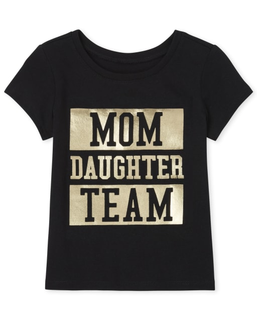 Baby And Toddler Girls Matching Family Short Sleeve Foil 'Mom Daughter Team' Graphic Tee