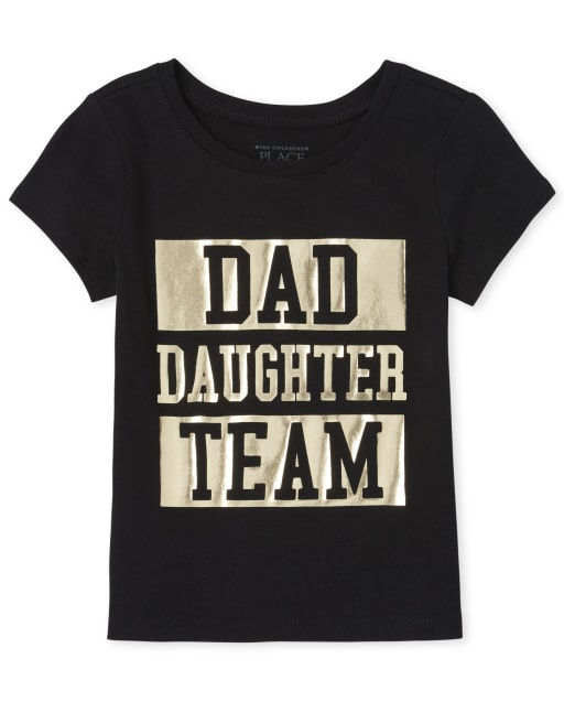 Baby And Toddler Girls Matching Family Short Sleeve Foil 'Dad Daughter Team' Graphic Tee