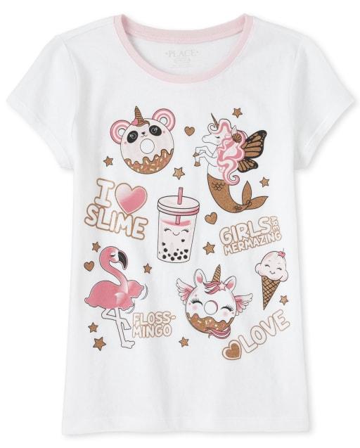 Girls Short Sleeve Glitter 'I Love Slime' Unicorn Dessert Graphic Tee
