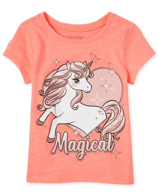 Baby And Toddler Girls Short Sleeve 'Magical' Unicorn Graphic Tee