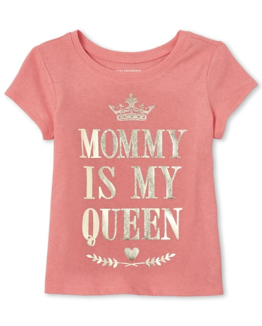 Baby And Toddler Girls Short Sleeve Foil 'Mom Is My Queen' Matching Graphic Tee