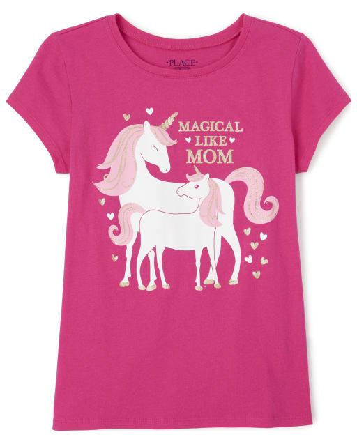 Girls Short Sleeve 'Magical Like Mommy' Unicorn Matching Graphic Tee