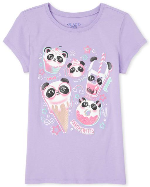 Girls Short Sleeve Glitter Panda Dessert Graphic Tee