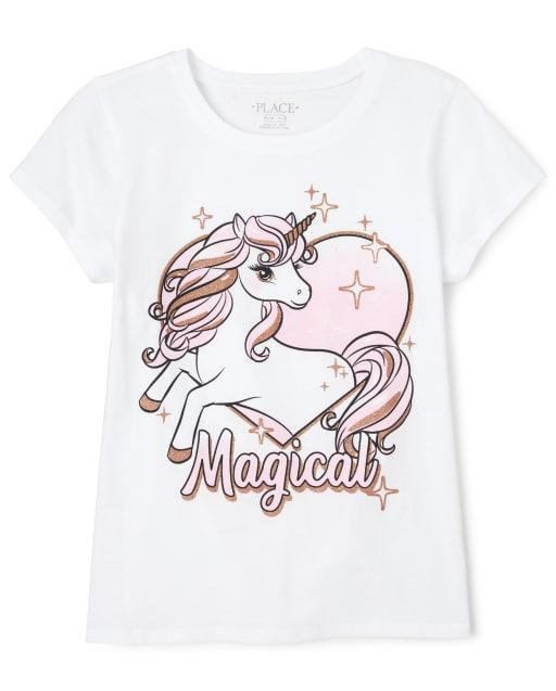 Girls Short Sleeve Glitter 'Magical' Unicorn Graphic Tee