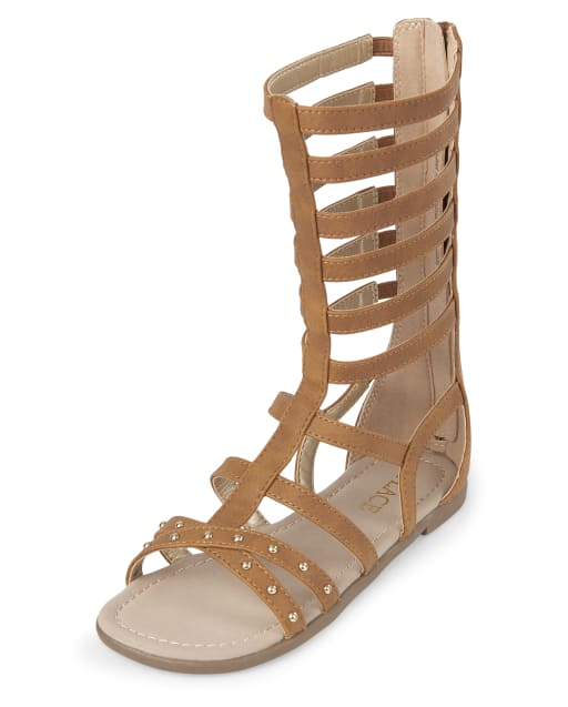 Girls Studded Matching Faux Leather Tall Gladiator Sandals