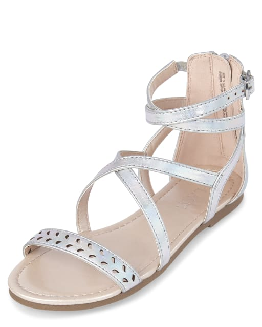 Girls Holographic Laser Cut Faux Leather Gladiator Sandals