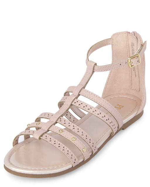 Girls Studded Faux Leather Matching Gladiator Sandals