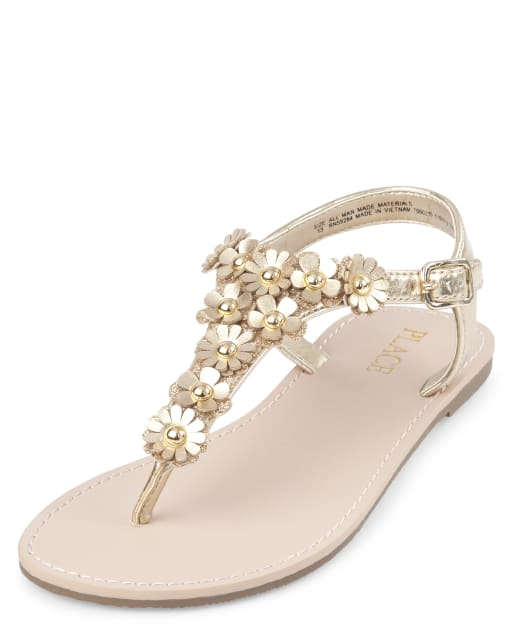 Girls Easter Metallic Studded And Glitter Flower Faux Leather Matching T-Strap Sandals