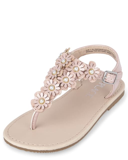 Toddler Girls Easter Flower Faux Leather Matching T-Strap Sandals