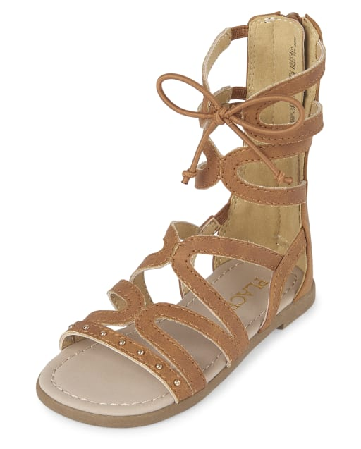 Toddler Girls Studded Matching Faux Leather Tall Gladiator Sandals
