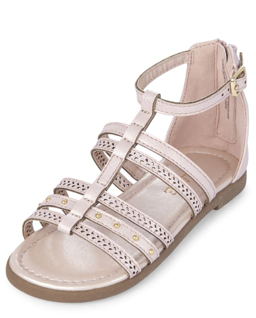 Toddler Girls Studded Faux Leather Matching Gladiator Sandals