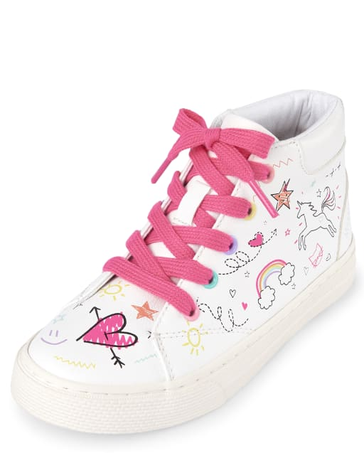 Girls Unicorn Doodle Print Faux Leather Matching Hi Top Sneakers