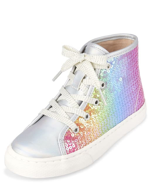 Girls Holographic Rainbow Sequin Faux Leather Hi Top Sneakers